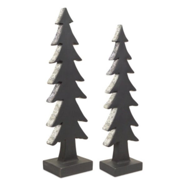 """Set of 2 Black with Silver Glitter Edging Christmas Tree Silhouette Table Decorations 22"""""""