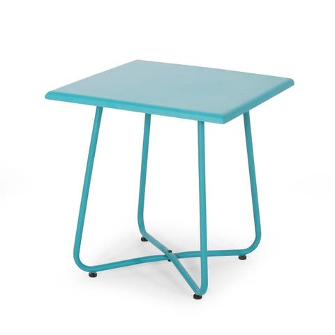 """Alder Outdoor Modern 18"""" Side Table with Steel Legs by Christopher Knight Home"""