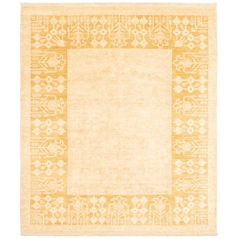 ECARPETGALLERY Hand-knotted Finest Peshawar Ziegler Ivory Wool Rug - 8'1 x 9'8
