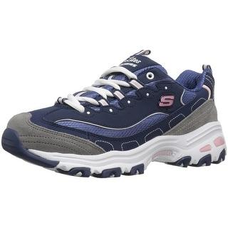 Skechers Sport Women's D'Lites Fashion Sneaker, Navy/Grey/White, 8 M US