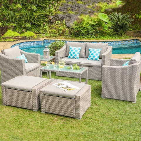 COSIEST Outdoor Furniture 7-Piece Conversation Set With Cushions