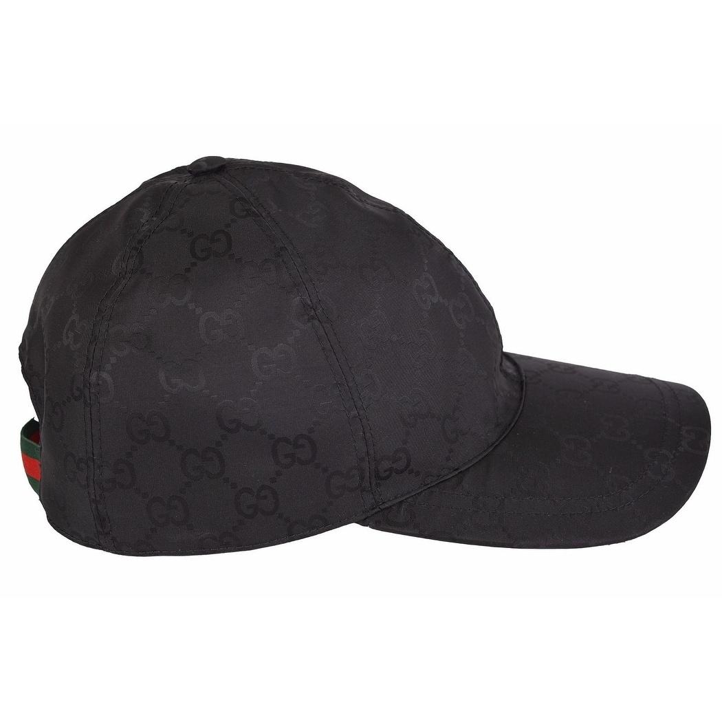 Gucci Men's 387578 Black Nylon GG Guccissima Web Stripe Baseball Cap Hat L - Thumbnail 0