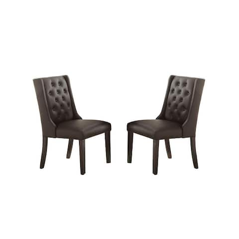 Faux Leather Dining Chairs With Button Tufted Back, Set Of 2