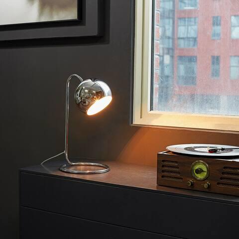 "Elia 15"" Chrome Desk Lamp with White Inner Shade"
