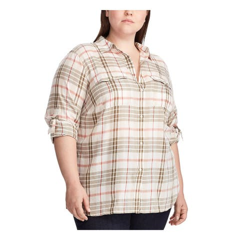 RALPH LAUREN Womens Beige Plaid 3/4 Sleeve Button Up Top Size 2X
