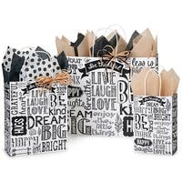 """Pack Of 125, Assortment Chalkboard Sentiments Recycled Paper Shopping Bags 50 Rose (5.5X3-1/4X8-3/8"""" ), 50 Cub & 25 Vogue"""