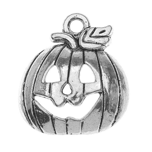 Lead-Free Pewter, Jack O Lantern Pumpkin Charm 16x18mm, 2 Pieces, Antiqued Silver