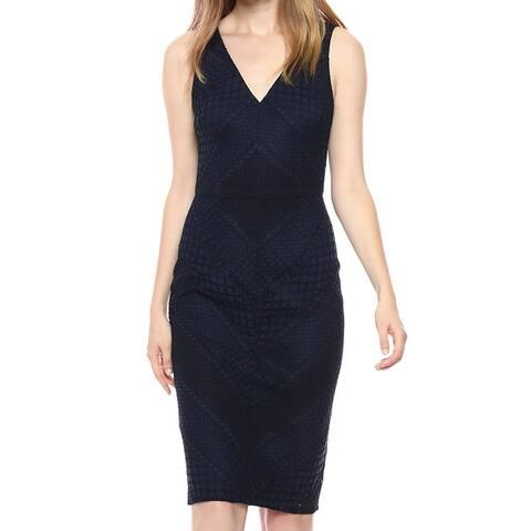 Adrianna Papell Womens Sheath Dress Blue Size 4 Crochet Lace V-Neck