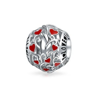Bling Jewelry Round Cut Out Family Red Enamel Heart Charm Bead .925 Sterling Silver