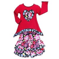 AnnLoren Girls Red Heart Floral Knit High Low Tunic Pants Outfit