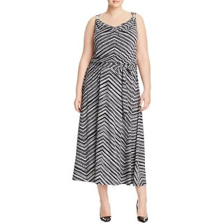 Calvin Klein Womens Plus Maxi Dress Sleeveless Printed