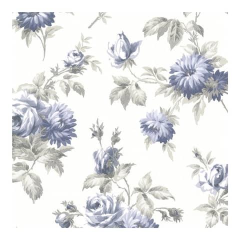Charlotte Blue Vintage Rose Toss Wallpaper - 396in x 20.5in 0.25in