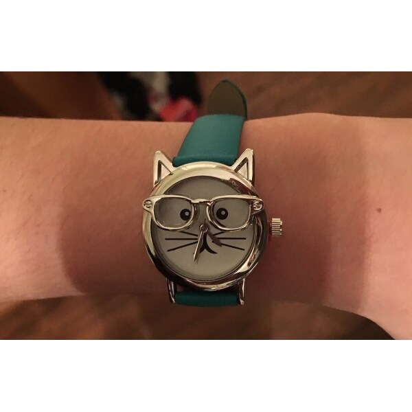 ad2a61880eb Shop Olivia Pratt Women s  Cat in Glasses  Leather Watch - Free Shipping On  Orders Over  45 - Overstock - 14104991
