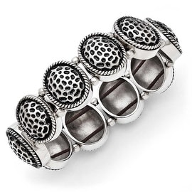Chisel Stainless Steel Oval Antiqued Stretch Bracelet