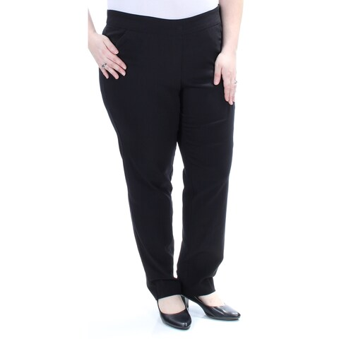 NY COLLECTION Womens Black Straight leg Wear To Work Pants Size: 2X