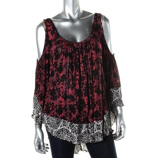 Free People Womens Printed Open Shoulder Casual Top - S