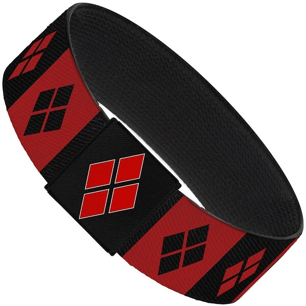"Harley Quinn Diamond Blocks Red Black Red Elastic Bracelet 1.0"" Wide"