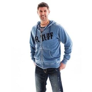 B. Tuff Western Sweatshirt Mens Hoodie Zip Burnout Blue H00375