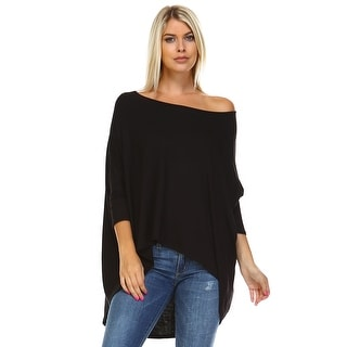 Isaac Liev Batwing Loose Oversized Hi Low Hem Loose Tunic Top
