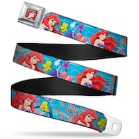 Ariel Face3 Full Color Blue Ariel & Flounder Vivid Underwater Poses Webbing Seatbelt Belt