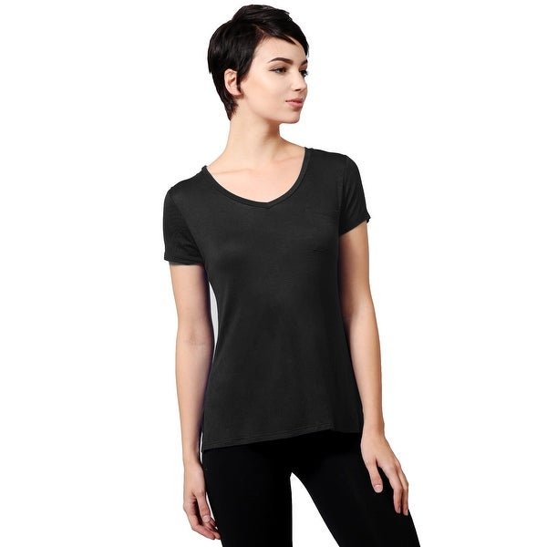 NE PEOPLE WOMEN'S Plain Light Weight V Neck Shirt with Front Chest Pocket