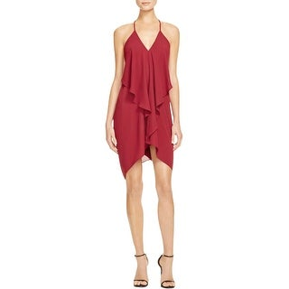 Olivaceous Womens Cocktail Dress Ruffled Drape Back