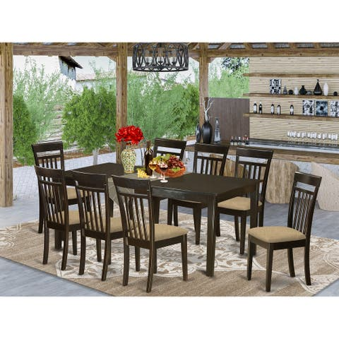 9-Piece Dining Set Contains Rectangle Table with Extension Leaf and 8 Chairs in Cappuccino Finish