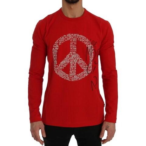 Moschino Moschino Red Motive Print Cotton T-Shirt