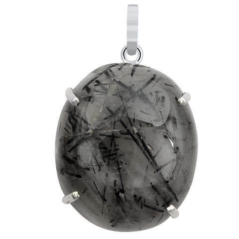 Rutile Quartz Sterling Silver Oval Chain Pendant by Orchid Jewelry