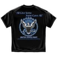 "Navy ""Some Gave All"" Black T-shirt by Erazor Bits"