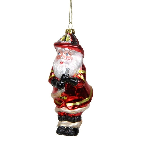 "5.5"" Glass Santa Fireman Decorative Christmas Ornament - RED"