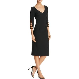 Black Halo Womens Rizette Evening Dress Ladder Sleeves Midi