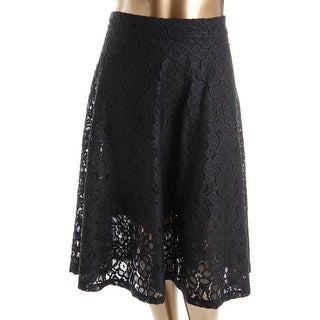 DKNY Womens Mid-Calf Lace Flare Skirt - 8