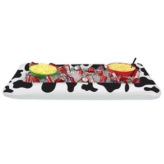 """Pack of 6 Black and White Inflatable Cow Print Westeren Themed Buffet Coolers 53.75"""""""
