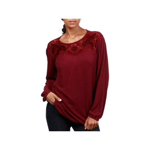 Lucky Brand Womens Pullover Top Knit Lace Trim