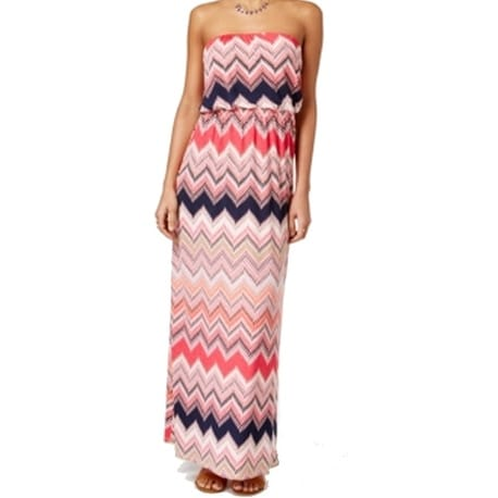 69780042a7f Shop Trixxi NEW Pink Size Small S Junior Chevron Print Strapless Maxi Dress  - Free Shipping On Orders Over  45 - Overstock - 14665776
