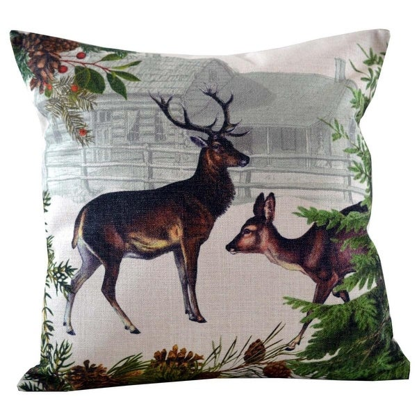 Decorative Buck and Doe with Farmhouse Background and Various Greenery Throw Pillow Cover 18""