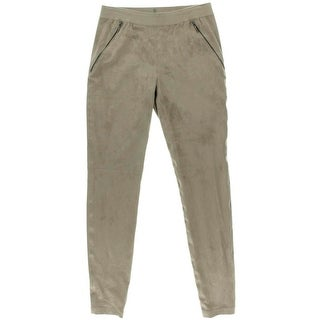 Elie Tahari Womens Faux Suede Flat Front Casual Pants