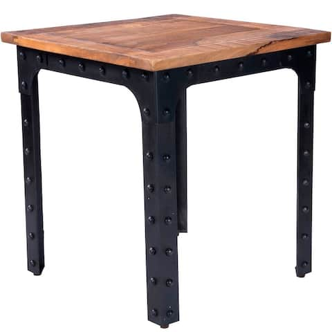"""Offex River Wood & Metal Transitional Square Dining Table - 27.5""""L x 27.5""""W x 30.5""""H"""