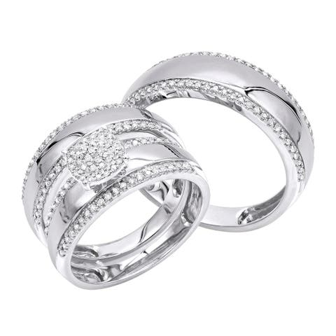 Trio Set His & Hers Bridal Set Round Diamond Engagement Ring and Wedding Bands 0.5ctw in 10k Gold by Luxurman