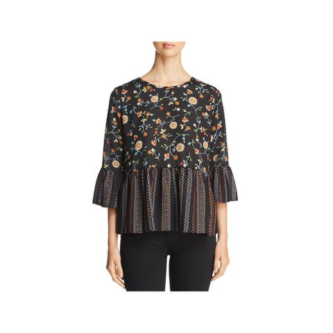 Status by Chenault Womens Pullover Top Printed Ruffled
