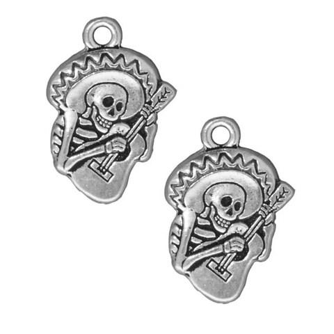 TierraCast Silver Plated Pewter Dia De Los Muertos Guitaro Pendant Charm 24mm (1)