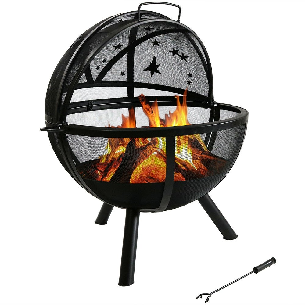 Sunnydaze 30 Inch Sphere Flaming Ball Fire Pit with Protective Cover - Thumbnail 22
