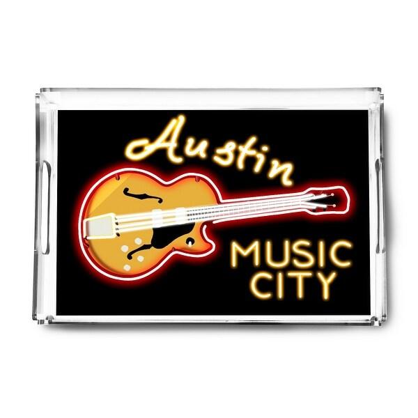 Austin, Texas - Neon Guitar Sign - Lantern Press Artwork (Acrylic Serving Tray)