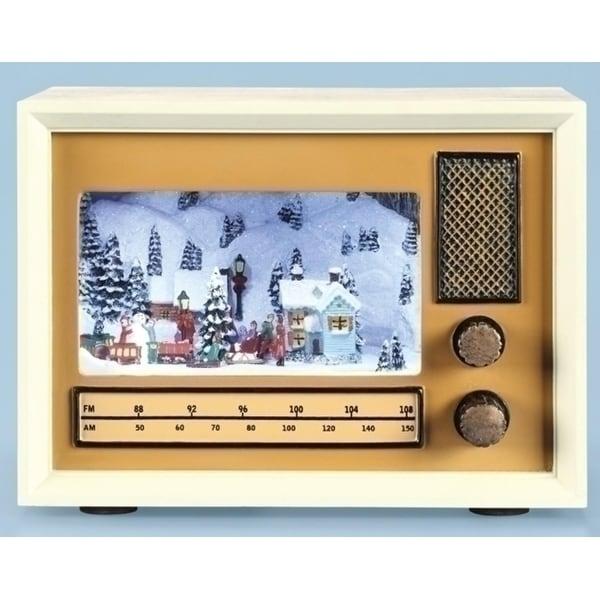 "4.5"" Subtle Colored LED Lighted Musical Vintage Radio Christmas Tabletop Decor"