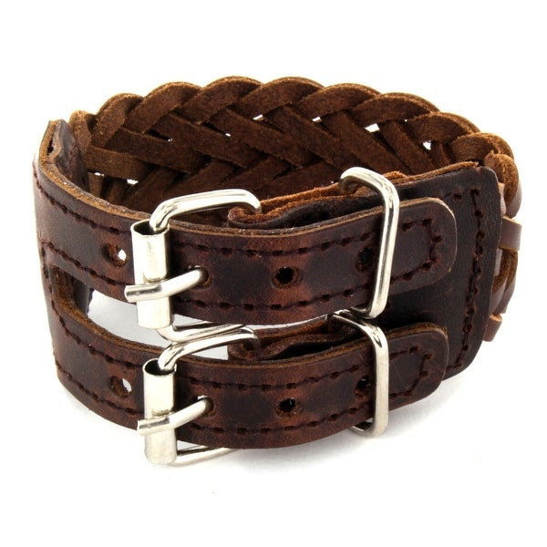 Brown Leather Weaved Bracelet with Adjustable Buckle End Closure (30 mm) - 8 in