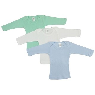 Bambini Boy'S White, Blue, Aqua Rib Knit Long Sleeve Lap T-Shirt 3-Pack