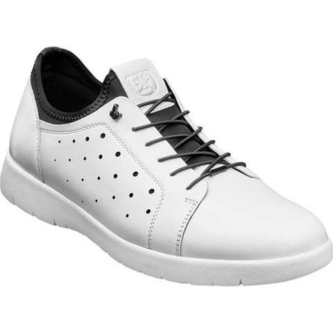 Stacy Adams Men's Halden Cap Toe Sneaker White Burnished Smooth Leather