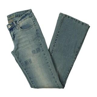 Bubble Gum Womens Juniors Wide Leg Jeans Denim Distressed - 1/2
