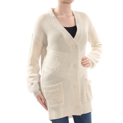 JESSICA SIMPSON Womens Beige Pocketed Mixed Knit Faux Fur Cardigan Long Sleeve Sweater Juniors Size: L